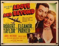 7k008 ABOVE & BEYOND style B 1/2sh '52 romantic close up of pilot Robert Taylor & Eleanor Parker!