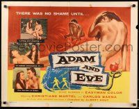 7k009 ADAM & EVE 1/2sh '58 sexiest art of naked man & woman in the Mexican Garden of Eden!