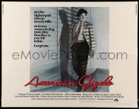 7k013 AMERICAN GIGOLO int'l 1/2sh '80 male prostitute Richard Gere is being framed for murder!