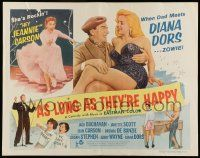 7k019 AS LONG AS THEY'RE HAPPY 1/2sh '57 sexy Diana Dors is de-lovely, Jean Carson!