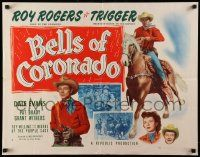 7k028 BELLS OF CORONADO style A 1/2sh R56 great artwork of Roy Rogers & Trigger, Dale Evans!