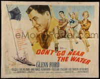 7k083 DON'T GO NEAR THE WATER style B 1/2sh '57 Glenn Ford, different art of 3 sexy girls!