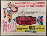 7k084 DR. GOLDFOOT & THE GIRL BOMBS 1/2sh '66 Mario Bava, Vincent Price & sexy half-dressed babes!