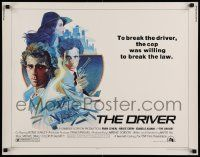 7k086 DRIVER 1/2sh '78 Walter Hill, cool artwork of Ryan O'Neal, Bruce Dern & Adjani by M. Daily!