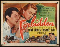 7k098 FORBIDDEN style A 1/2sh '54 only Joanne Dru could give Tony Curtis his kind of love!