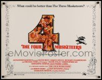 7k099 FOUR MUSKETEERS 1/2sh '75 Raquel Welch, Oliver Reed, great wacky Jack Rickard art!