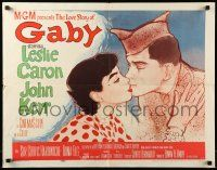 7k103 GABY style A 1/2sh '56 wonderful close up art of soldier John Kerr kissing Leslie Caron!