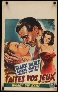 7m009 ANY NUMBER CAN PLAY Belgian '49 art of Clark Gable, Smith & Totter by Wik!