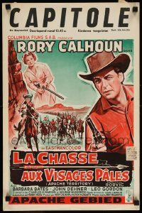 7m010 APACHE TERRITORY Belgian '58 art of Rory Calhoun w/ pistol drawn, from Louis L'Amour's novel
