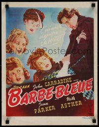 7m035 BLUEBEARD Belgian '46 art of John Carradine & his sexy victims, directed by Edgar Ulmer!