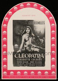 7s030 CLEOPATRA die-cut German pressbook R53 sexy Egyptian ruler Claudette Colbert, Cecil B. DeMille