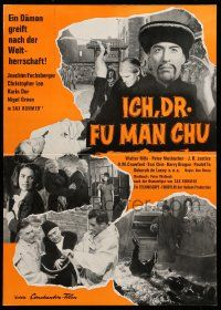 7s033 FACE OF FU MANCHU German pressbook '65 unfolds to cool 12x17 poster!