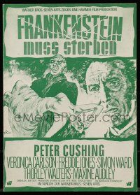 7s034 FRANKENSTEIN MUST BE DESTROYED German pressbook '70 folds out to make a 24x33 poster!