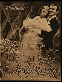 7s052 BROADWAY MELODY OF 1938 German program '38 Robert Taylor, Eleanor Powell, cool & different!