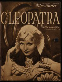 7s056 CLEOPATRA German program '34 different images of sexy Claudette Colbert, Cecil B. DeMille