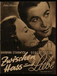 7s076 HIS BROTHER'S WIFE German program '37 different images of Barbara Stanwyck & Robert Taylor!