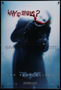 7w621 DARK KNIGHT teaser DS 1sh '08 great image of Heath Ledger as the Joker, why so serious?