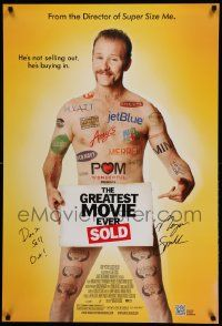 7w038 GREATEST MOVIE EVER SOLD signed DS 1sh '11 by Morgan Spurlock who says 'don't sell out!'