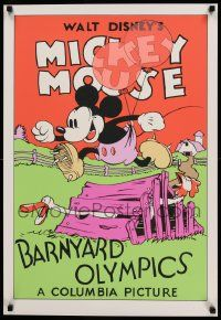 7w048 BARNYARD OLYMPICS 21x31 art print '70s-80s art of Mickey Mouse jumping over chicken coop!