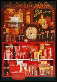 7w068 COCA-COLA 27x39 Dutch advertising poster '80s really cool image of soft drink items!