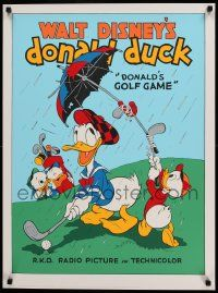 7w050 DONALD'S GOLF GAME 23x31 art print '70s-80s Donald Duck golfing w/Huey, Due and Louie!
