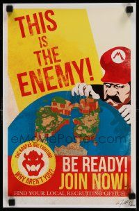7w022 MARIO WWII PROPAGANDA signed 11x17 special '10s by Fernando Reza, this is the enemy, 60/100!