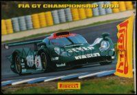 7w072 PIRELLI TIRES 27x39 advertising poster '98 FIA GT Championship, F1 race car!