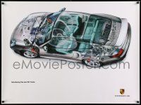 7w079 PORSCHE 30x40 German advertising poster '99 cool cutaway of the 911 Turbo!