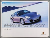 7w080 PORSCHE 30x40 German advertising poster '99 the 911 Turbo tearing up salt flats!