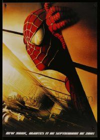 8a022 LOT OF 33 UNFOLDED SPIDER-MAN 20x27 SOUTH AMERICAN POSTERS '02 with WTC & plane in his eyes!
