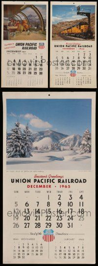 8a025 LOT OF 3 UNION PACIFIC RAILROAD CALENDARS '65-67 with cool train images for each month!