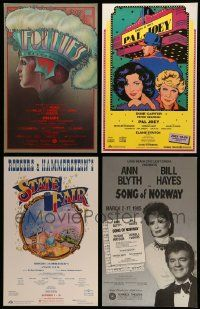 8a031 LOT OF 4 UNFOLDED STAGE PLAY WINDOW CARDS '80s-90s Follies, Pal Joey, State Fair & more!