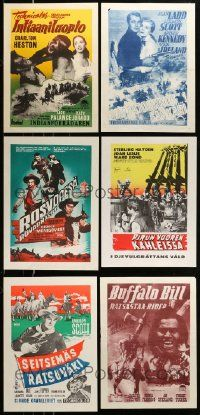 8a040 LOT OF 10 UNFOLDED AND FORMERLY FOLDED WESTERN FINNISH POSTERS '50s different cowboy images!