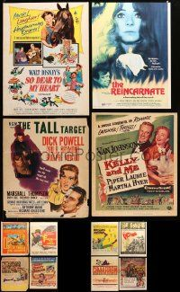 8a029 LOT OF 12 MOSTLY UNFOLDED TRIMMED WINDOW CARDS '50s-60s a variety of great movie images!