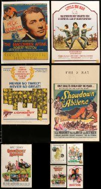 8a030 LOT OF 9 MOSTLY FOLDED MOSTLY TRIMMED WINDOW CARDS '40s-60s a variety of movie images!