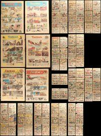 8a026 LOT OF 44 1930S BURNE HOGARTH TARZAN SUNDAY NEWSPAPER PAGES '30s cool color comic strips!