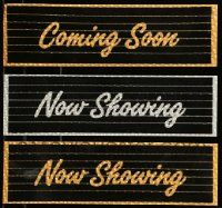 8a011 LOT OF 3 COMING SOON AND NOW SHOWING THEATER MARQUEE DISPLAY PIECES '80s in gold & silver!