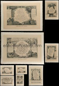 8a024 LOT OF 9 FRENCH LINENBACKED BOOK PAGES 1840s cool art of 175-year-old maps!