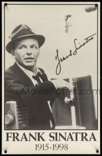 8c621 FRANK SINATRA 22x34 commercial poster '70s cool smiling image of Frank in hat!