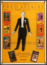 8c561 FRED ASTAIRE 20x27 video poster '80s RKO Home Video ad, great image with covers!