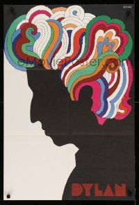 8c303 DYLAN 22x33 music poster '67 colorful silhouette art of Bob by Milton Glaser!