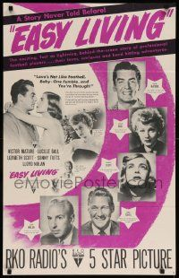 8c410 EASY LIVING 22x35 special '49 Lucille Ball, Victor Mature, Lizabeth Scott, football!