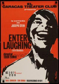8c029 ENTER LAUGHING 17x25 Venezuelan stage poster '60s close-up art of laughing man by Kovacs!