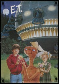 8c408 E.T. THE EXTRA TERRESTRIAL 17x24 special R85 Barrymore and Thomas with the alien at night!
