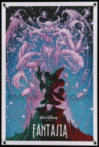 8c415 FANTASIA 24x36 art print '14 Mickey from Sorcerer's Apprentice, Bald Mountain by Soto, 251/390