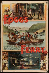 8c013 FOGG'S FERRY 28x42 stage poster 1893 montage of images with ferry boat & woman shooting!