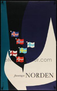 8c189 FORENINGEN NORDEN 25x39 Danish special '60s cool artwork of many flags!