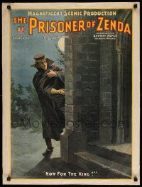 8c021 PRISONER OF ZENDA 21x28 stage poster 1895 king abducted art, Daniel Frohman producer!