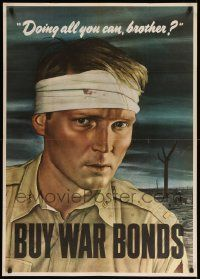 8c086 DOING ALL YOU CAN BROTHER 29x40 WWII war poster '43 Robert Sloan art of wounded soldier!
