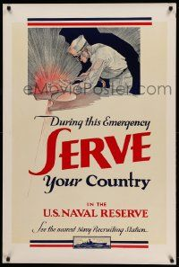 8c090 DURING THIS EMERGENCY SERVE YOUR COUNTRY 28x42 WWII war poster '42 art of sailor welding!